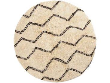 Berber Teppich rund, marokkanisch, weiße Wollteppiche, Linienmuster-