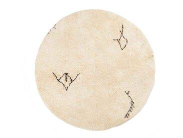 marokkanischer Beni Ourain Teppich, runde Teppiche, Tribal Muster und Symbole, Wolle-