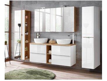 Badmöbel Set mit Doppel-Waschtisch inkl. 2 Keramik-Becken TOSKANA-56 Hochglanz weiß/Wotaneiche B/HT ca. 260/200/48 cm