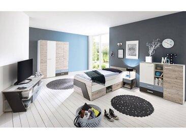 Jugendzimmer Set Jungen 5-teilig LEEDS-10 in Sandeiche Nb. mit weiß, Lava und Denim Blau