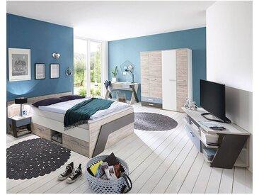 Jugendzimmer Set mit Bett 140x200 cm 5-teilig mit Kleiderschrank LEEDS-10 in Sandeiche Nb. mit weiß, Lava und Denim Blau