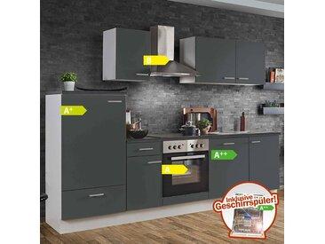 Küche White Graphit 280cm LIVERPOOL-87 inklusive E-Geräte & Geschirrspüler
