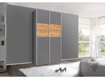 Schwebetürenschrank 136cm breit, 229cm hoch Grau-Metallic und Spiegel