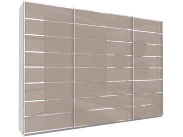 Schwebetürenschrank 315cm breit, 210cm hoch Fango Glas und Chrom