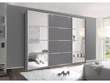 Schwebetürenschrank 315cm breit, 210cm hoch Grau-Metallic und Chrom Dekorleisten