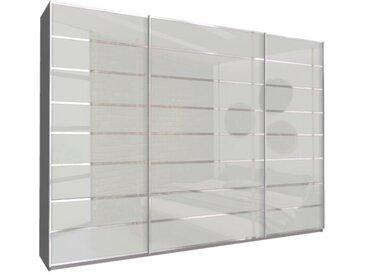 Schwebetürenschrank 315cm breit, 210cm hoch Seidengraues Glas und Grau-Metallic