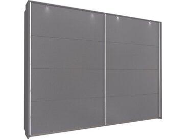 Schwebetürenschrank 271cm breit, 210cm hoch Grau-Metallic mit Passepartout und Chrom Griffleisten