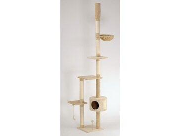 animal-design Katzen-Kratzbaum deckenhoch XXL beige, braun, grau - LUCY - mit Liegemulde, Wohnhöhle, Spielseil und Spielmaus