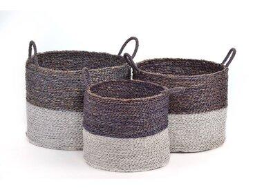 AUFBEWAHRUNGSKORB Flechtkorb RUND in 3 GRÖßEN Seegras Korb Box mit Henkel in grau / braun & weiß Korb-Set Aufbewahrungsbox