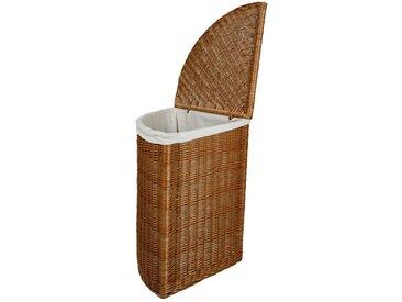 animal-design Eckwäschetruhe aus Weide Wäschekorb mit Deckel und waschbarem Stoffeinsatz Wäschesammler Kleidertruhe Aufbewahrungstruhe Truhe