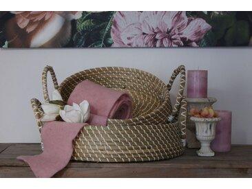 animal-design Dekokorb aus Seegras Naturmaterial Henkel Aufbewahrungskorb in 2 Größen oder als Set rund