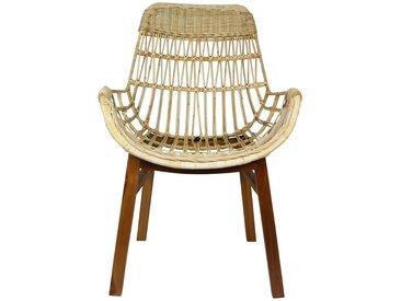 B-WARE Rattanstuhl SHELLY Korb-Stuhl Retro Sessel Lounge Loft Esszimmer Küche Bistro Balkon Terrasse