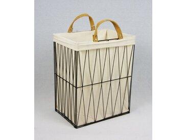 animal-design Wäschekorb aus Metall geflochten, zusammenklappbar Dekokorb schwarz