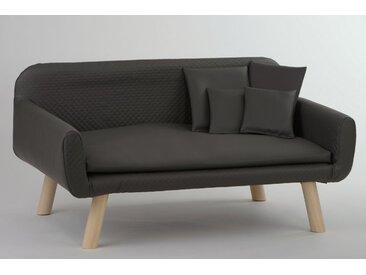 animal-design Hundesofa NEUES DESIGN Hundebett Kunstleder Sofa für Hunde graubraun