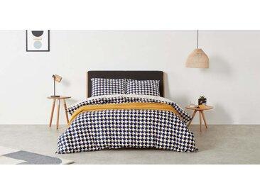 Mikka 100 % Baumwolle Bettwaescheset (200 x 200 cm), Marineblau und Senfgelb