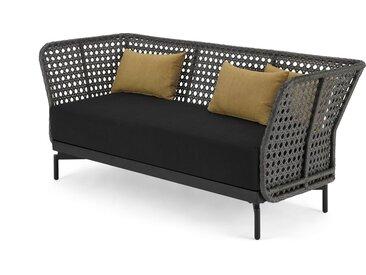 Balawa 3-Sitzer Gartensofa, Grau und Polyrattan
