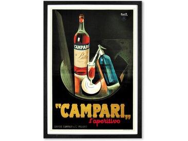 Campari Vintage Drinks gerahmter Kunstdruck (A2), Mehrfarbig