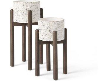 2 x Hakuun Uebertoepfe mit Holzgestell, Terrazzo in Weiss