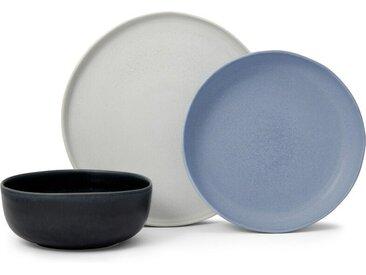 Ingram 12-tlg. Geschirrset, Grau, Indigoblau und Blau