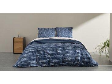 MADE Essentials Uxi Bettwaescheset (200 x 200 cm) aus 100 % Baumwolle, Mitternachtsblau und Rot