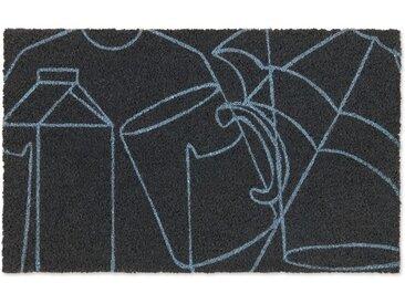 Cucina Fussmatte (45 x 75 cm), Anthrazit und Blau