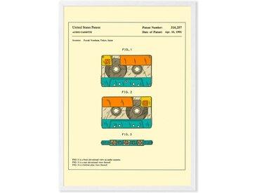 Retro Patent Cassette by Jazzberry Blue gerahmter Kunstdruck (A3), Mehrfarbig