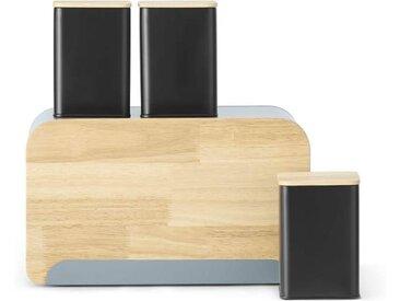 MADE Essentials Potter Brotbox und 3 x Aufbewahrungsbehaelter, Schwarz und Grau