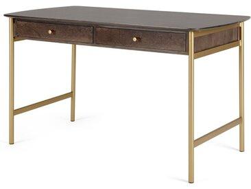 Bortolin Schreibtisch mit Schubladen, Mango und Messing