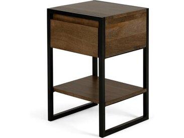 Rena Nachttisch, Mangoholz und schwarzes Metall