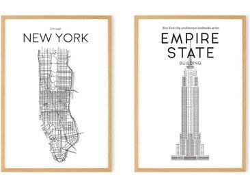Location & Landmark New York Map A2 Framed Wall Art Print, Black & White