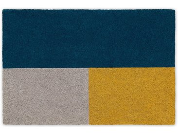 Elkan grosse Fussmatte (60 x 90 cm), Blau und Gelb