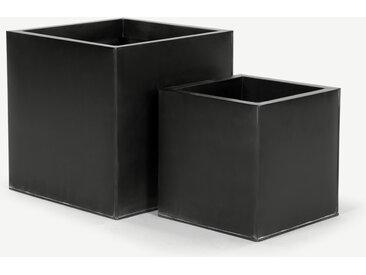 2 x Razan quadratische Uebertoepfe, Schwarz
