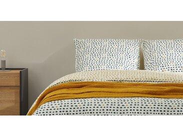 MADE Essentials Uxi Bettwaescheset (155 x 220 cm) aus 100 % Baumwolle, Nachtblau und Senfgelb