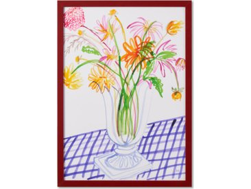 Frances Costelloe 'Dahlias on Gingham Table' Limited Edition gerahmter Kunstdruck (A2)
