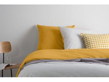 Solar 100 % Baumwolle Bettwaescheset (155 x 220 cm), Nebelgrau und Senfgelb