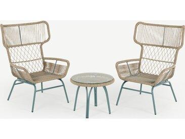 Lyra 3-tlg. Lounge-Set, Grau und Blau
