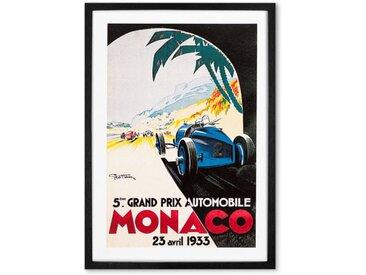 Monaco Vintage Travel gerahmter Kunstdruck (verschiedene Groessen erhaeltlich), Mehrfarbig