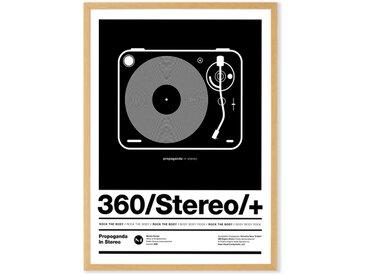 Stereo Poster gerahmter Kunstdruck (A2), Schwarz und Weiss