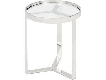 Aula runder Beistelltisch, Chrom und Glas