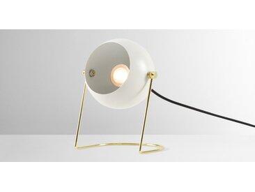 Brunswick Nachttischlampe, Schwedengrau und Messing
