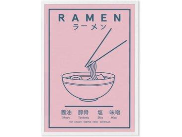 Ramen Food Poster by Violet Studio gerahmter Kunstdruck (A3), Rosa