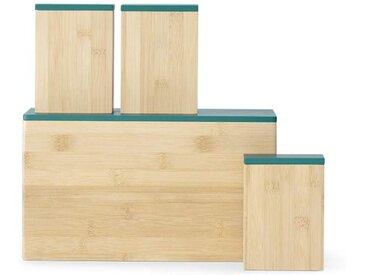 Boe Brotbox und 3 x Aufbewahrungsbehaelter, Bambus in Natur und Blaugruen