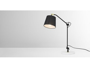 Ziva Arc Overreach Table Lamp, Black and White Marble