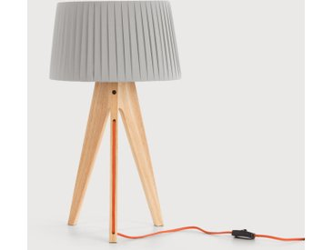 Miller Tischlampe, Holz mit orangem Kabel