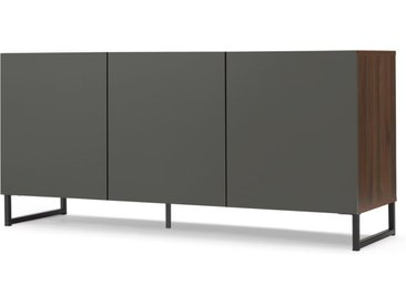 Hopkins grosses Sideboard, Walnuss-Finish-Finish und Grau