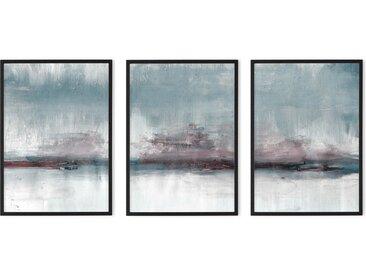 3 x Abstract Haze Triptychon gerahmte Kunstdrucke (A3), kaltes Blau