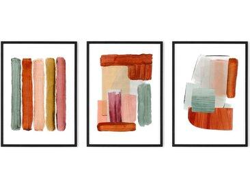 Abstract by Rebecca Hoyes 3 x gerahmte Kunstdrucke (A2), Senfgelb und Hellbraun