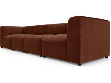 Juno modulares 4-Sitzer Sofa, Samt in Karamellbraun