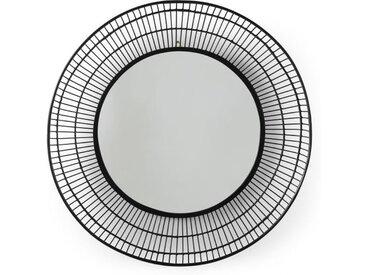 Tulsi runder Spiegel (o 80 cm), Schwarz