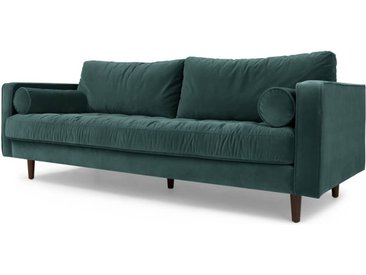 Scott 3-Sitzer Sofa, Samt in Petrolgruen